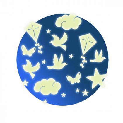 Светящиеся наклейки на стену Птички