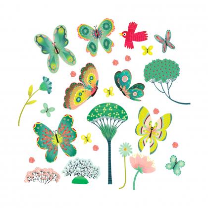 Наклейки на окна Бабочки в саду